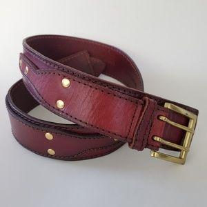 Linea Pelle Studded Leather Belt, Size Medium
